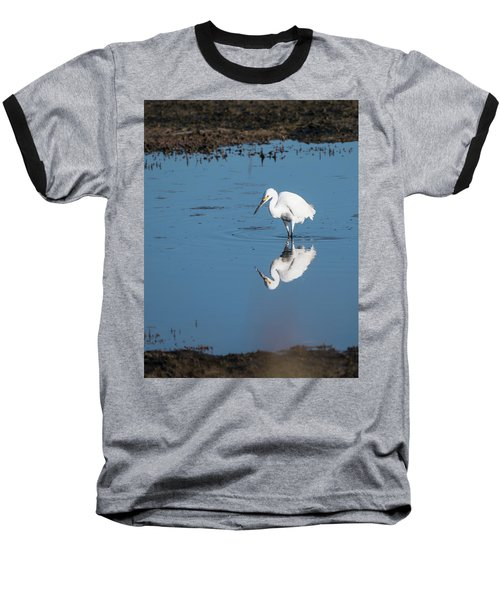 Reflections White Egret Baseball T-Shirt