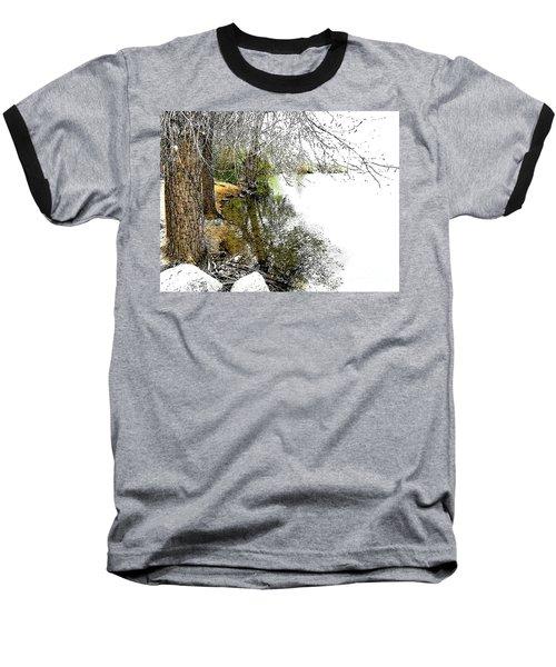 Reflective Trees Baseball T-Shirt by Deborah Nakano