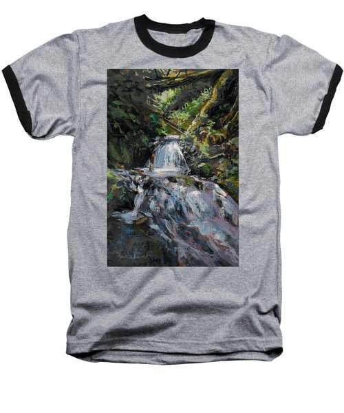 Baseball T-Shirt featuring the painting Refreshed - Rainforest Waterfall Impressionistic Painting by Karen Whitworth
