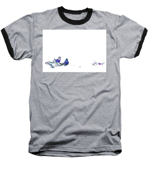 Refueling Watercolor On White Baseball T-Shirt