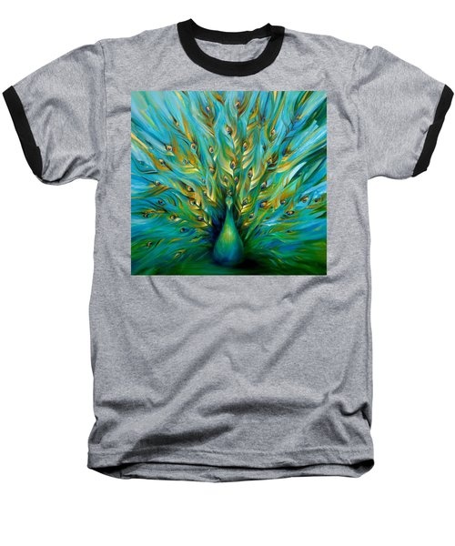 Baseball T-Shirt featuring the painting Regal Peacock by Dina Dargo