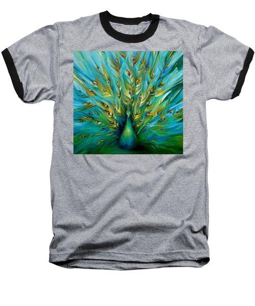 Regal Peacock Baseball T-Shirt by Dina Dargo