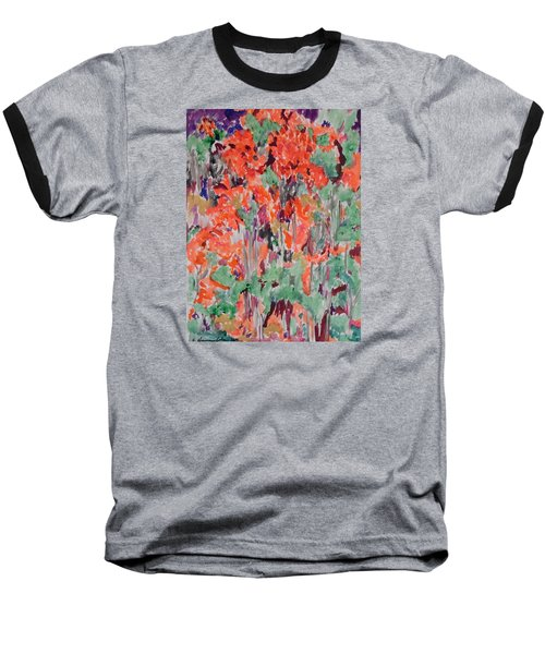 Regal Red Fall Foliage Baseball T-Shirt by Esther Newman-Cohen