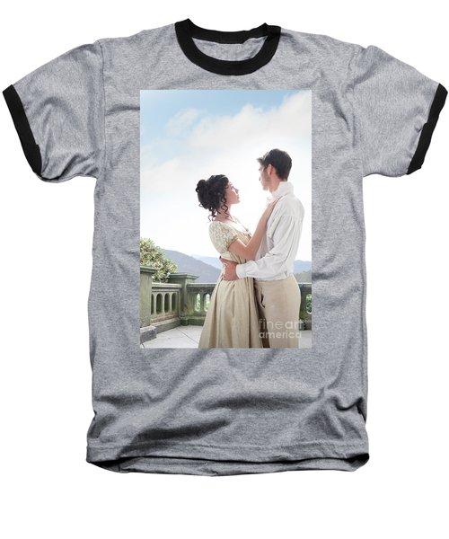Regency Couple Embracing On The Terrace Baseball T-Shirt by Lee Avison