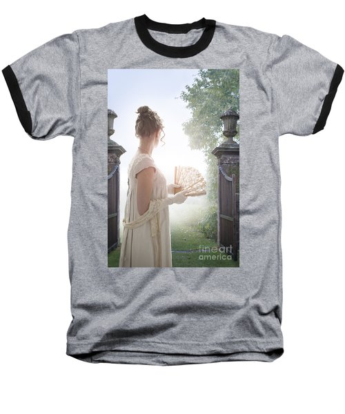 Regency Woman Looking Through A Gateway Baseball T-Shirt by Lee Avison