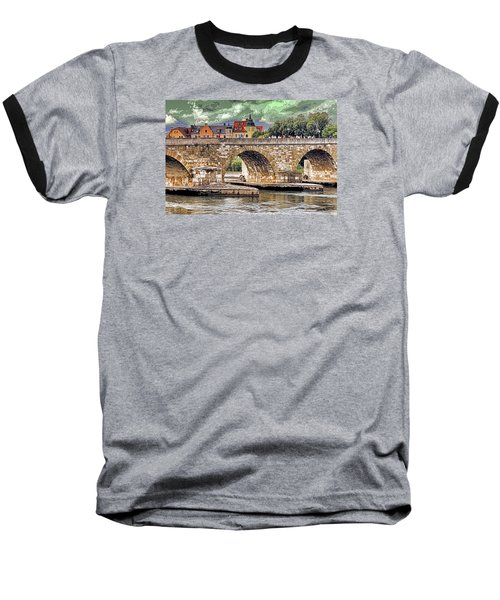 Baseball T-Shirt featuring the photograph Regensburg Stone Bridge by Dennis Cox WorldViews