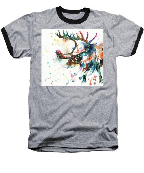 Baseball T-Shirt featuring the painting Reindeer by Zaira Dzhaubaeva