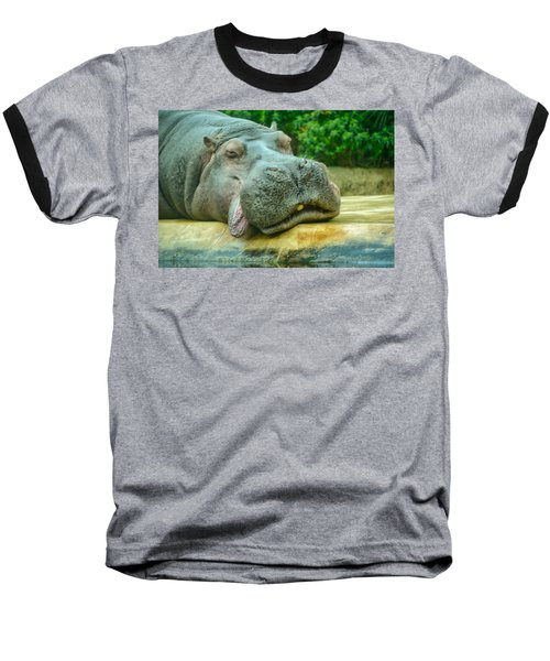 Relaxing Hippo Baseball T-Shirt