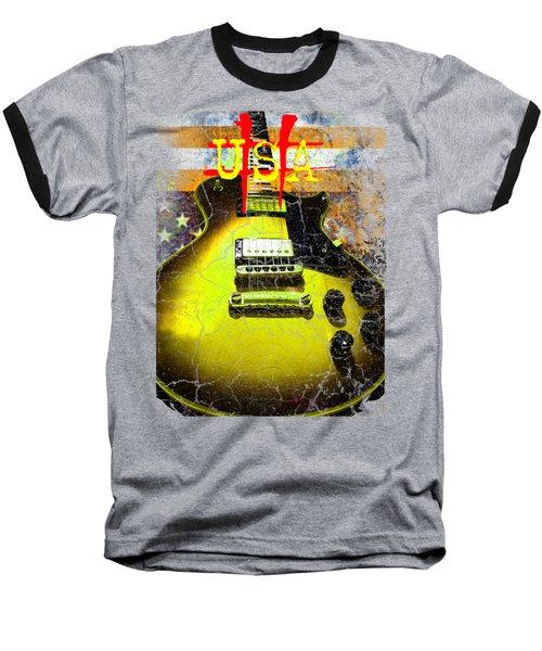 Relic Guitar Music Patriotic Usa Flag Baseball T-Shirt