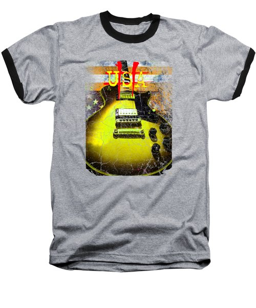 Baseball T-Shirt featuring the photograph Relic Guitar Music Patriotic Usa Flag by Guitar Wacky