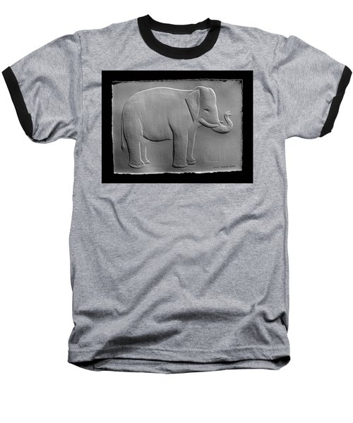 Relief Elephant Drawing Baseball T-Shirt