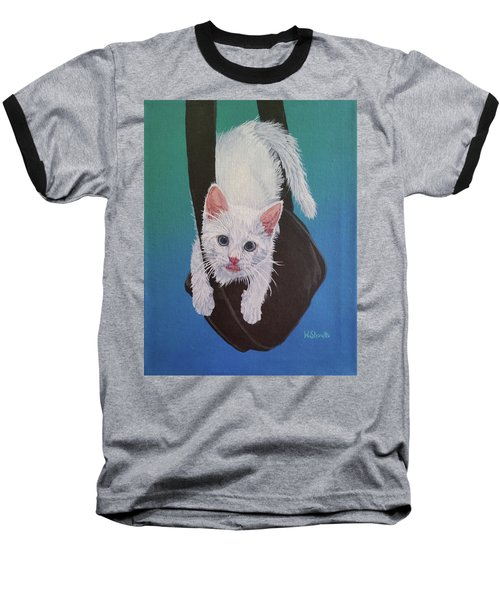 Baseball T-Shirt featuring the painting Rembrandt Justa Swingin by Wendy Shoults