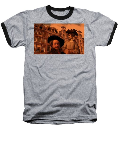 Rembrandt Study In Orange Baseball T-Shirt