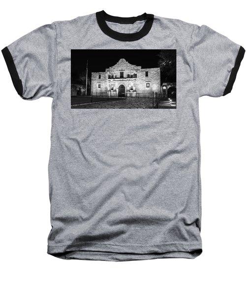 Remembering The Alamo - Black And White Baseball T-Shirt by Stephen Stookey