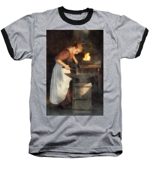 Renaissance Lady Blacksmith Baseball T-Shirt