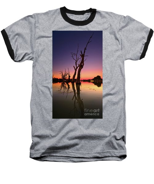 Renmark South Australia Sunset Baseball T-Shirt by Bill Robinson