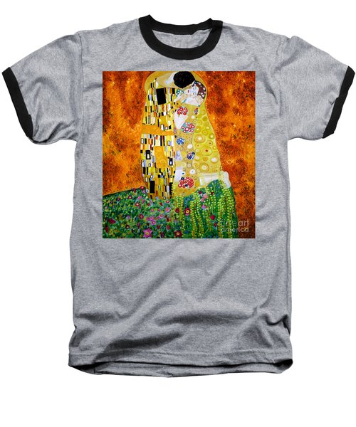 Baseball T-Shirt featuring the painting Reproduction Of The Kiss By Gustav Klimt by Zedi