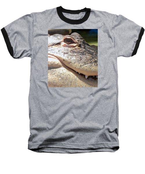 Reptilian Smile Baseball T-Shirt by KD Johnson
