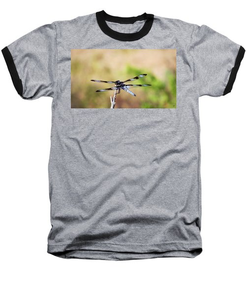Baseball T-Shirt featuring the photograph Rest Area, Dragonfly On A Branch by Shelli Fitzpatrick