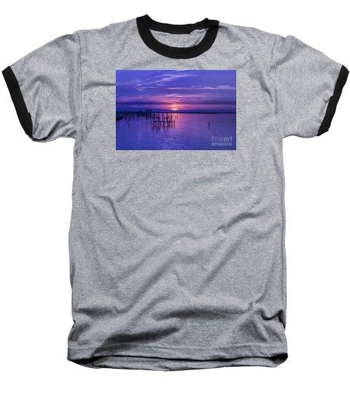 Rest Well World Purple Sunset Baseball T-Shirt