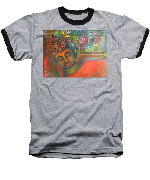 Baseball T-Shirt featuring the painting Buddha Resting Against A Colorful Backdrop by Prerna Poojara