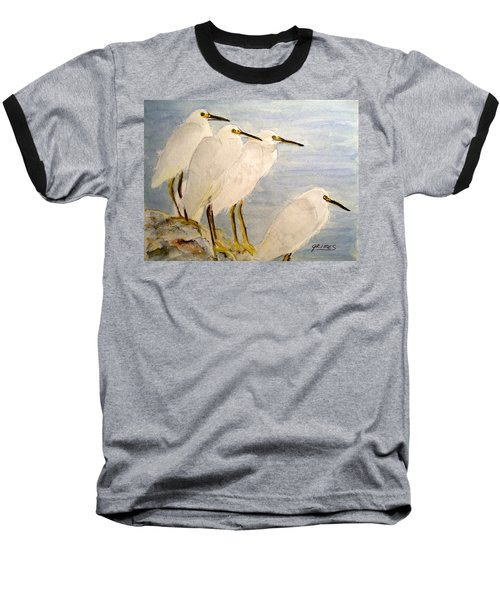 Baseball T-Shirt featuring the painting Resting Egrets by Carol Grimes