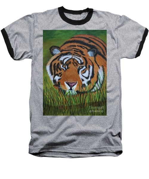 Baseball T-Shirt featuring the painting Resting Tiger  by Myrna Walsh