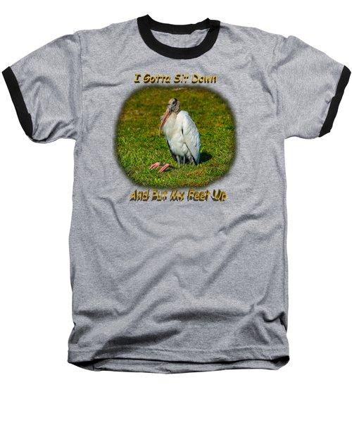 Resting Woodstork Baseball T-Shirt by John M Bailey
