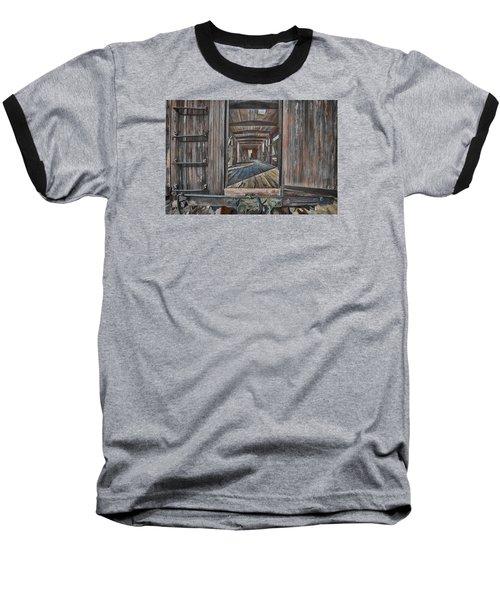 Retired Train Car Jamestown Baseball T-Shirt by Steve Siri
