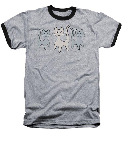 Retro Cat Graphic In Grays Baseball T-Shirt