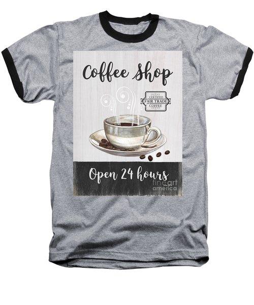 Baseball T-Shirt featuring the painting Retro Coffee Shop 1 by Debbie DeWitt
