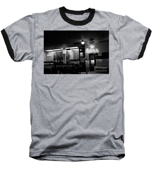 Retro Diner In Athens, Georgia -black And White Baseball T-Shirt