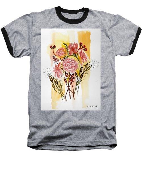 Retro Florals Baseball T-Shirt by Carol Crisafi