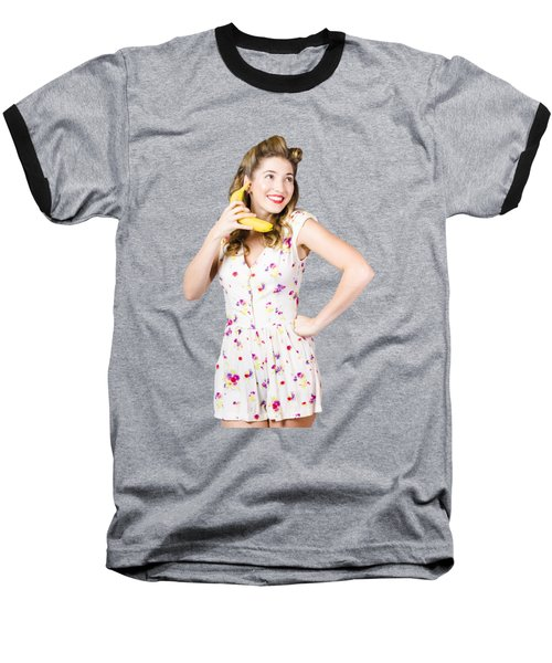 Baseball T-Shirt featuring the photograph Retro Pin Up Girl Chatting On Banana Telephone by Jorgo Photography - Wall Art Gallery