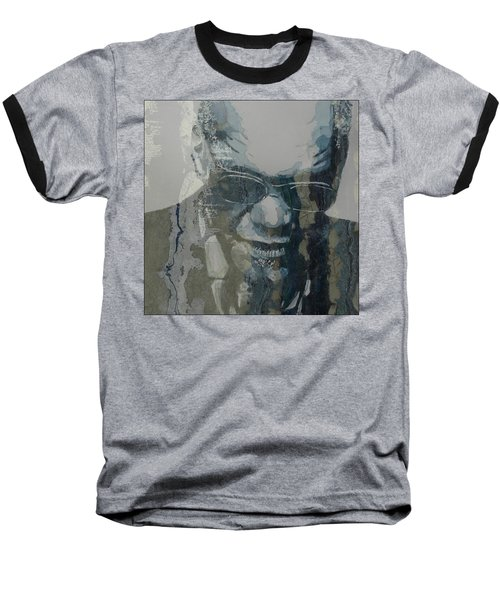 Baseball T-Shirt featuring the mixed media Retro / Ray Charles  by Paul Lovering
