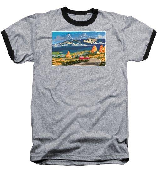 Retro Travel Autumn Landscape Baseball T-Shirt