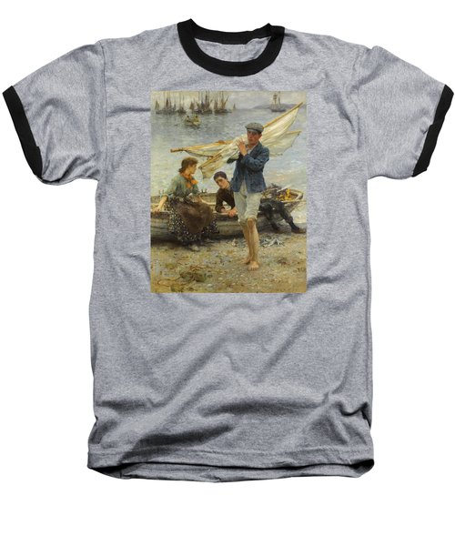 Return From Fishing Baseball T-Shirt by Henry Scott Tuke