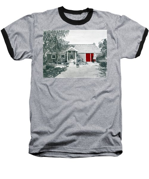Retzlaff Winery With Red Door No. 2 Baseball T-Shirt by Mike Robles