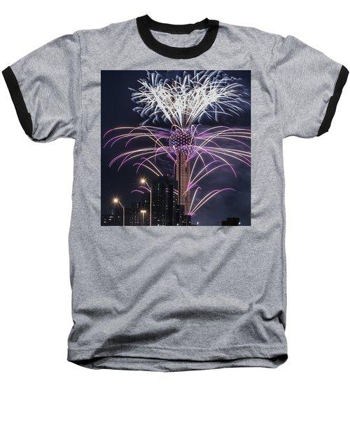 Reunion Tower Fireworks Baseball T-Shirt