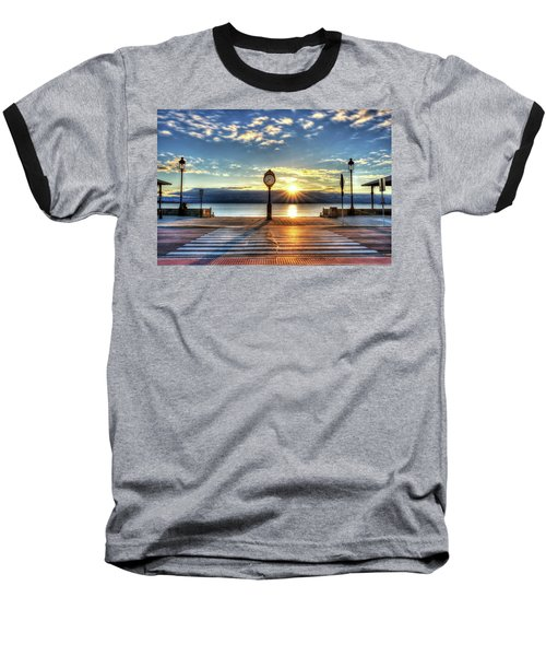 Revere Beach Clock At Sunrise Angled Long Shadow Revere Ma Baseball T-Shirt