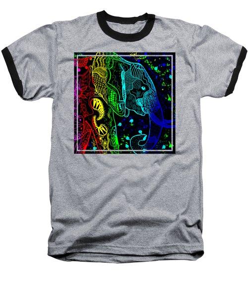 Rainbow Zentangle Elephant With Black Background Baseball T-Shirt by Becky Herrera