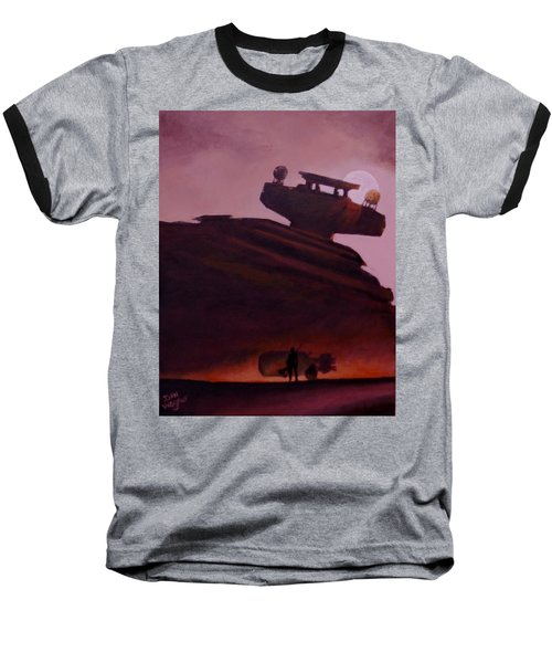 Baseball T-Shirt featuring the painting Rey Looks On by Dan Wagner