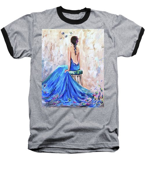 Baseball T-Shirt featuring the painting Rhapsody In Blue by Jennifer Beaudet
