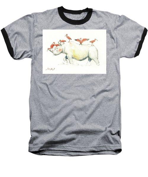 Rhino And Ibis Baseball T-Shirt by Juan Bosco