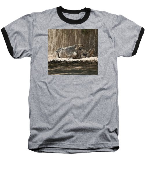 Baseball T-Shirt featuring the digital art Rhino by Walter Chamberlain