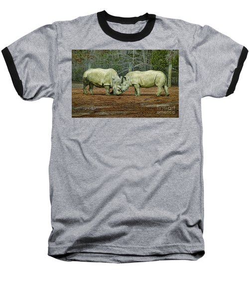 Rhinos In Love Baseball T-Shirt