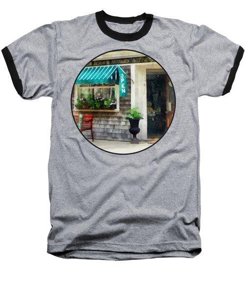 Rhode Island - Antique Shop Newport Ri Baseball T-Shirt by Susan Savad