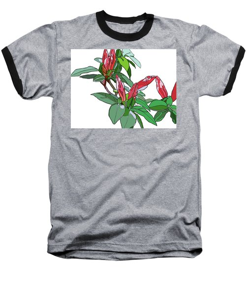 Rhododendron Buds Baseball T-Shirt by Jamie Downs