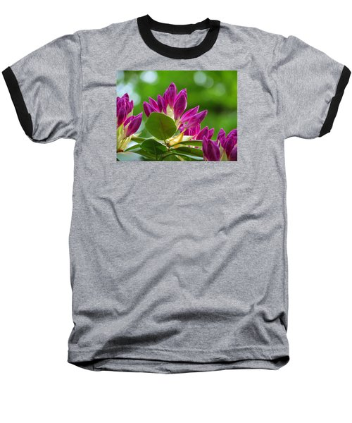 Rhododendron Buds Baseball T-Shirt by MTBobbins Photography