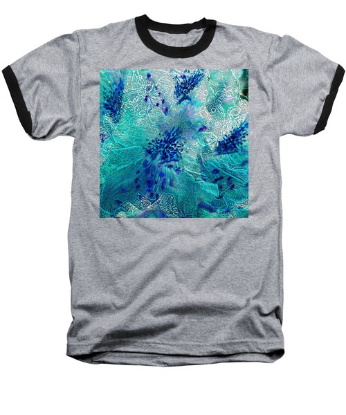 Rhododendron Turquoise Lace Baseball T-Shirt